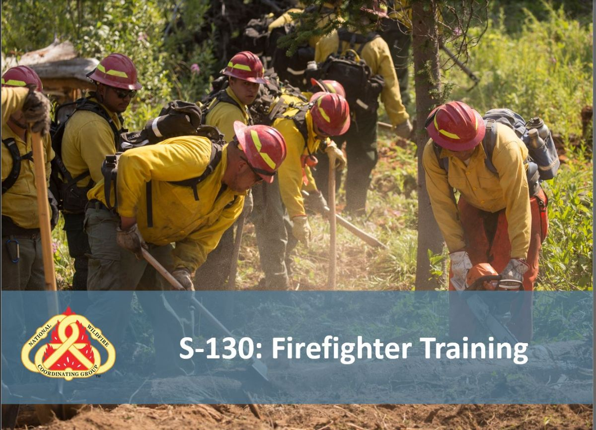 Several firefighters wearing yellow shirts and red hardhats are digging with shovels and tools in dirt and grass with evergreen trees in the background.