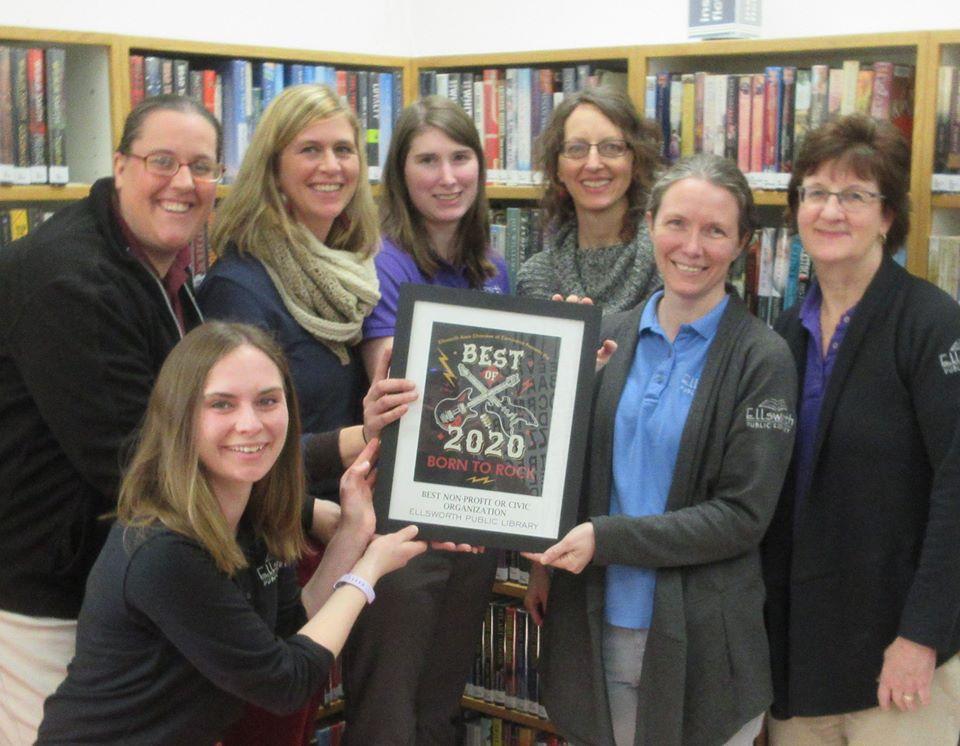 Ellsworth library staff receiving award