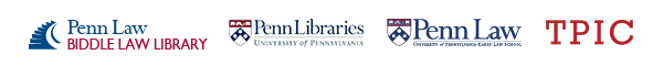 Biddle Law Library, Penn Libraries, Penn Carey Law, and Toll Public Interest Center logos