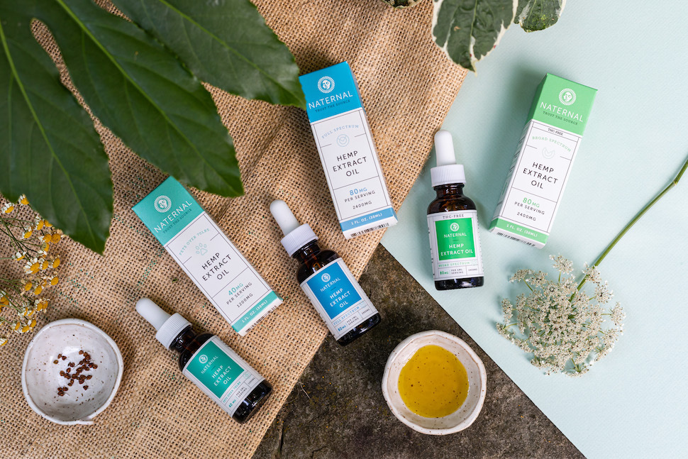 A spread of Naternal's CBD products