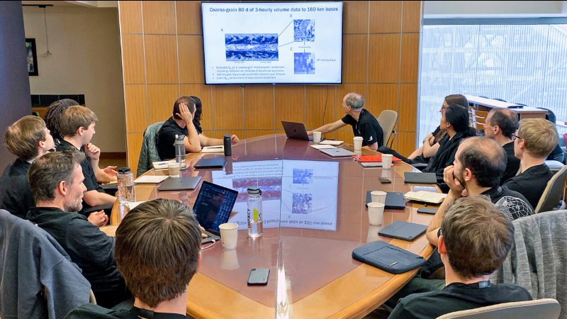 Vulcan's climate modeling team works together prior to the coronavirus pandemic. (Vulcan Inc. Photo)