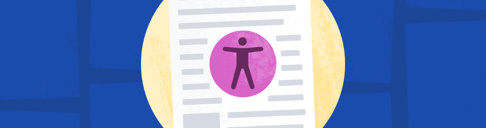 An illustration of a scientific paper on a dark blue background covered in other papers. A purple universal access logo, a stick figure with arms outstretched in a circle, is displayed on top of the paper.