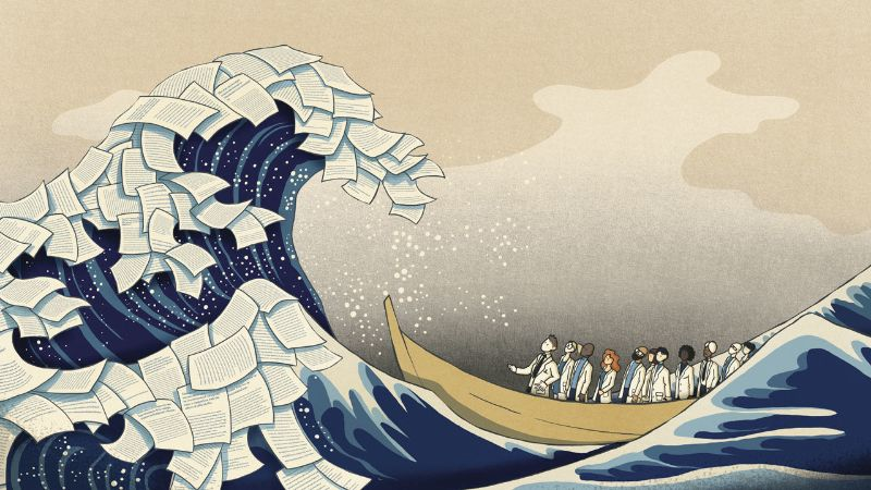 Illustration of scientists on a boat looking at a tidal wave of research papers. Art by Sara Gironi Carnevalevia Science Magazine.