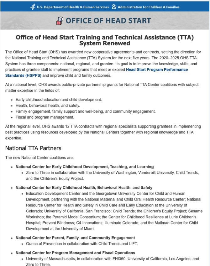 Office of Head Start TTA System announcement