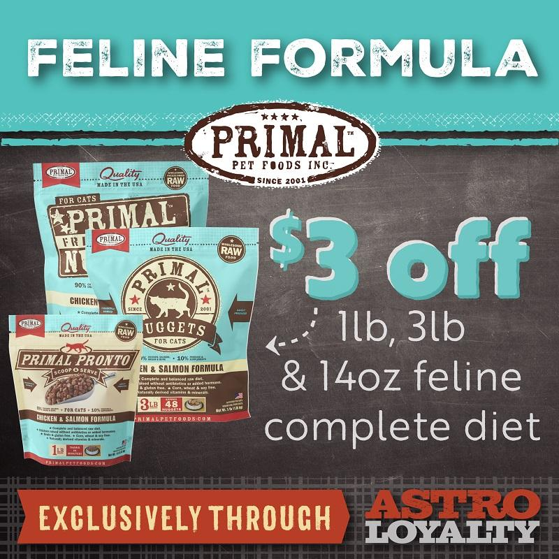 Primal   $3.00 OFF Select Cat Diets