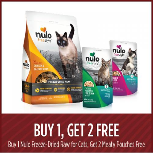 Buy Nulo Freez-Dried Raw for Cats and get 2 Meaty Pouches free.