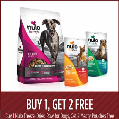 Buy Nulo Freeze-Dried Raw for dogs and get 2 Meaty Pouches free.
