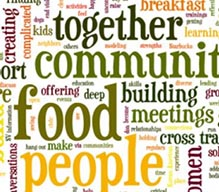 wordle including community, together, food, people, and other key words