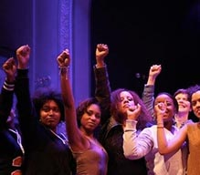 girls with their fists in the air