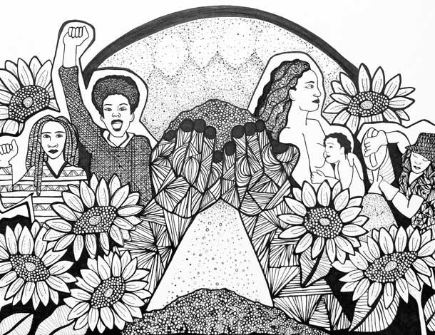 black and white artwork of women and flowers