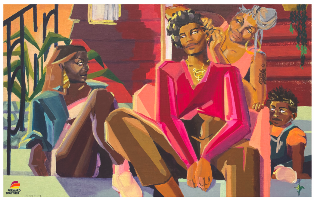 painting of Black women sitting together on a porch