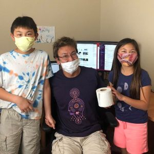 Berkeley Lab scientist Andy Nonaka poses with his children.