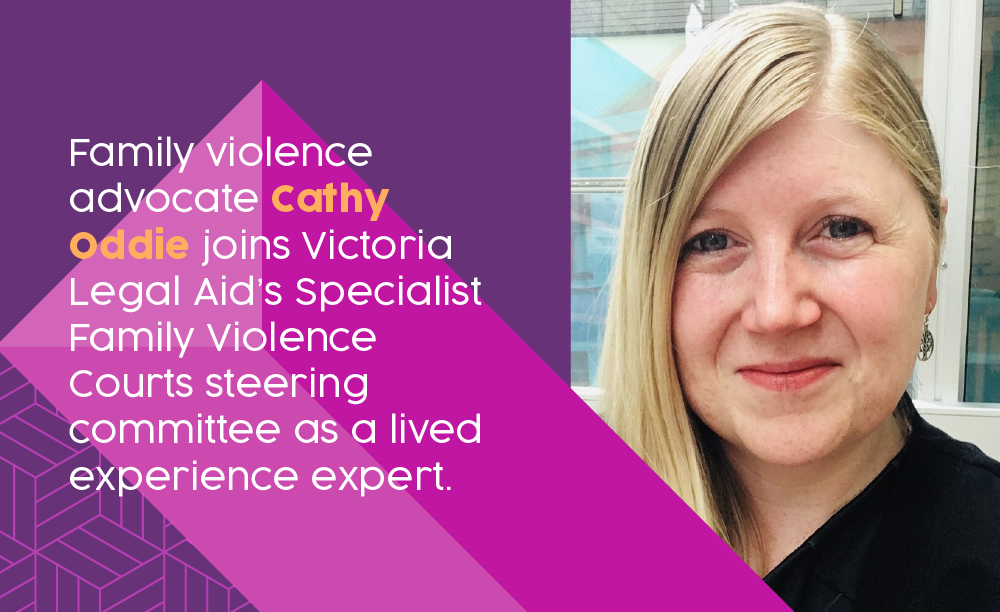Photo of Family Violence Advocate Cathy Oddie with text