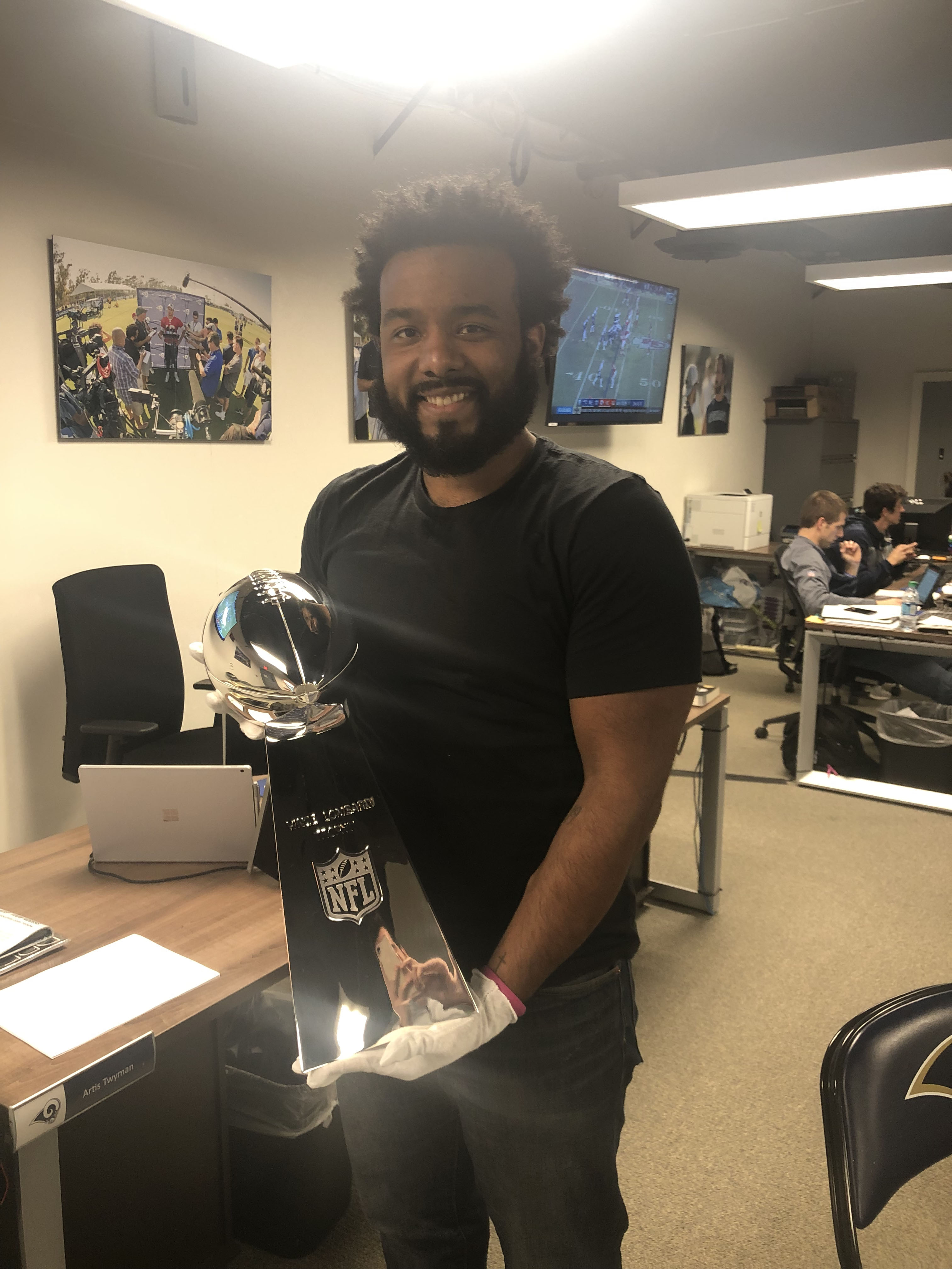 Aaron with the Vince Lombardi Trophy