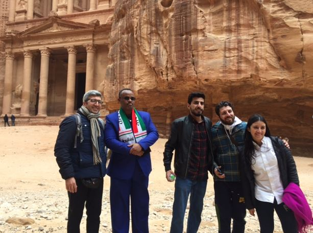 Partners from Lebanon, Somaliland, Jordan, Macedonia and Colombia in a site visit to Petra, demonstrating the breadth of Peace in Our Cities and the power of cooperation across borders.