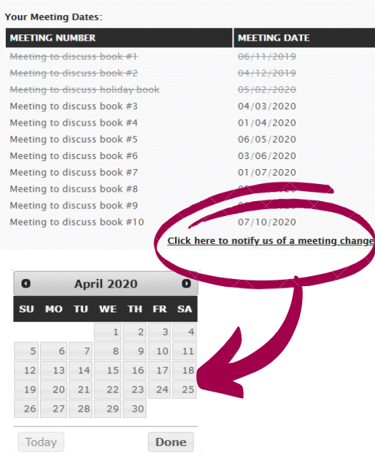 Image: Request a change to your meeting dates