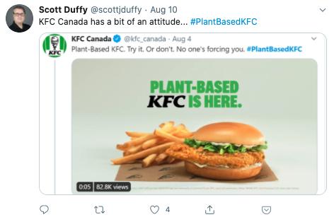Tweet about KFC's plant-based offerings.