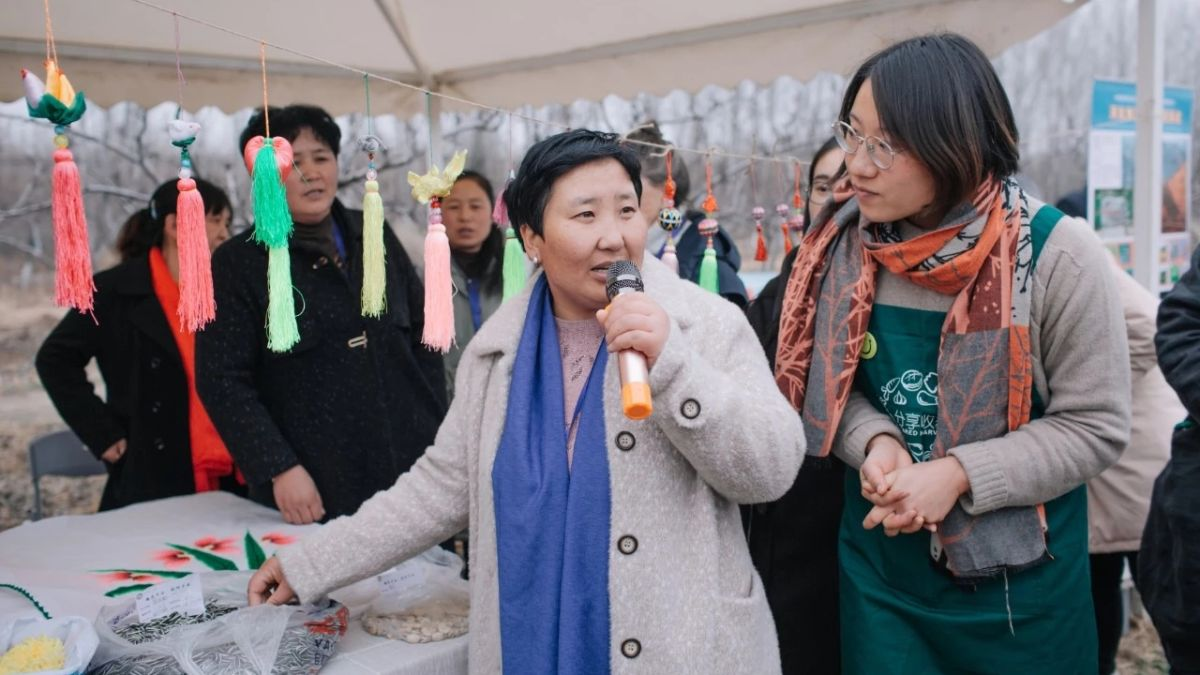 Photo: Yan Shenglian presenting on the work done to implement organic farming techniques in her village at farm market in Beijing (copyright Qiubi, Farmers' Seed Network, China)