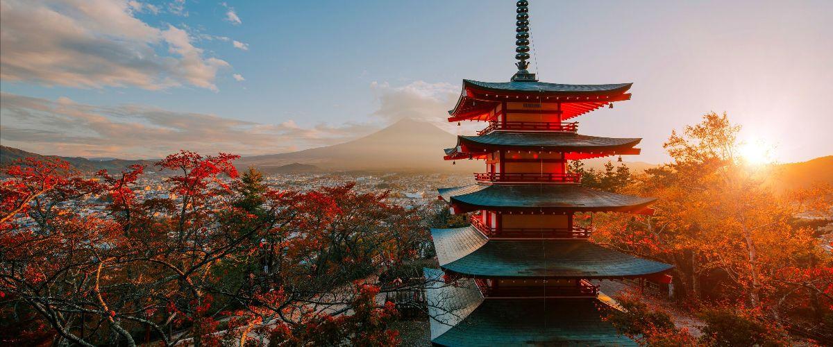 Uitzicht op Mount Fuji in Japan