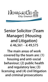 Newcastle City Council - Senior Solicitor/Team Manager - Housing and Litigation