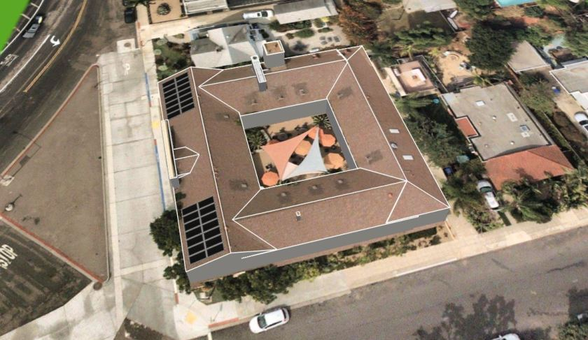 artist's rendering of the new roof and solar panels at the La Jolla Community Center