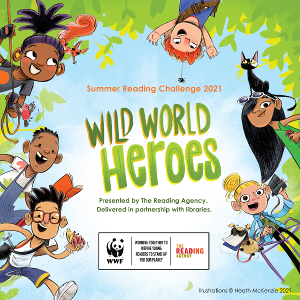 Illustration of children with text reading: Wild World Heroes