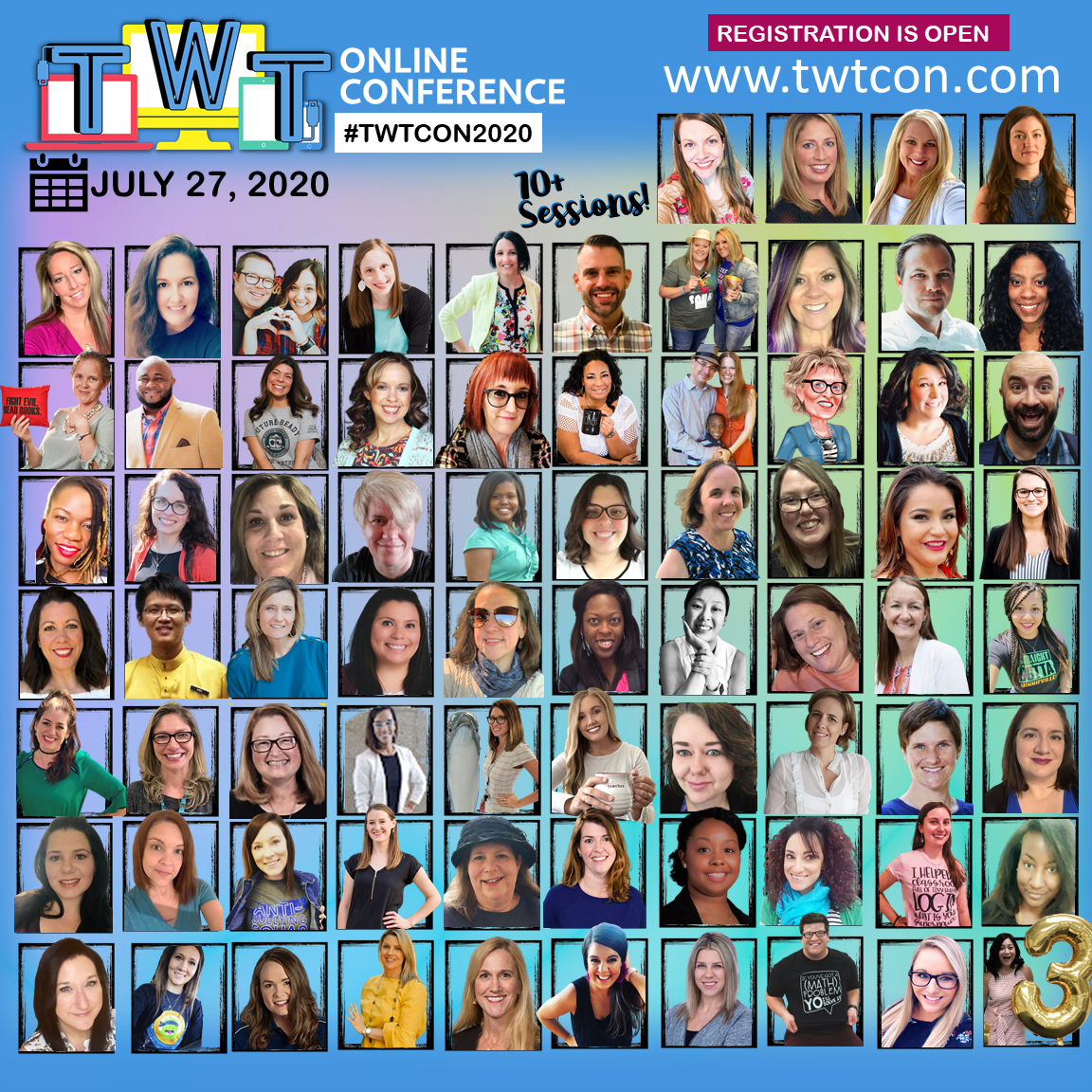 Image shows a collection of the speakers for the Teach With Tech Conference. Details available at TWTCon.com
