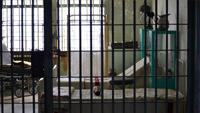 Der Blick in Gefängniszellen. Hinter Gitterstäben sind Liegen zu sehen. Die Sonne scheint von aussen herrein.