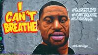 Ein Graffiti eines schwarzen mannes. daneben der schriftzug: i can´t breathe.