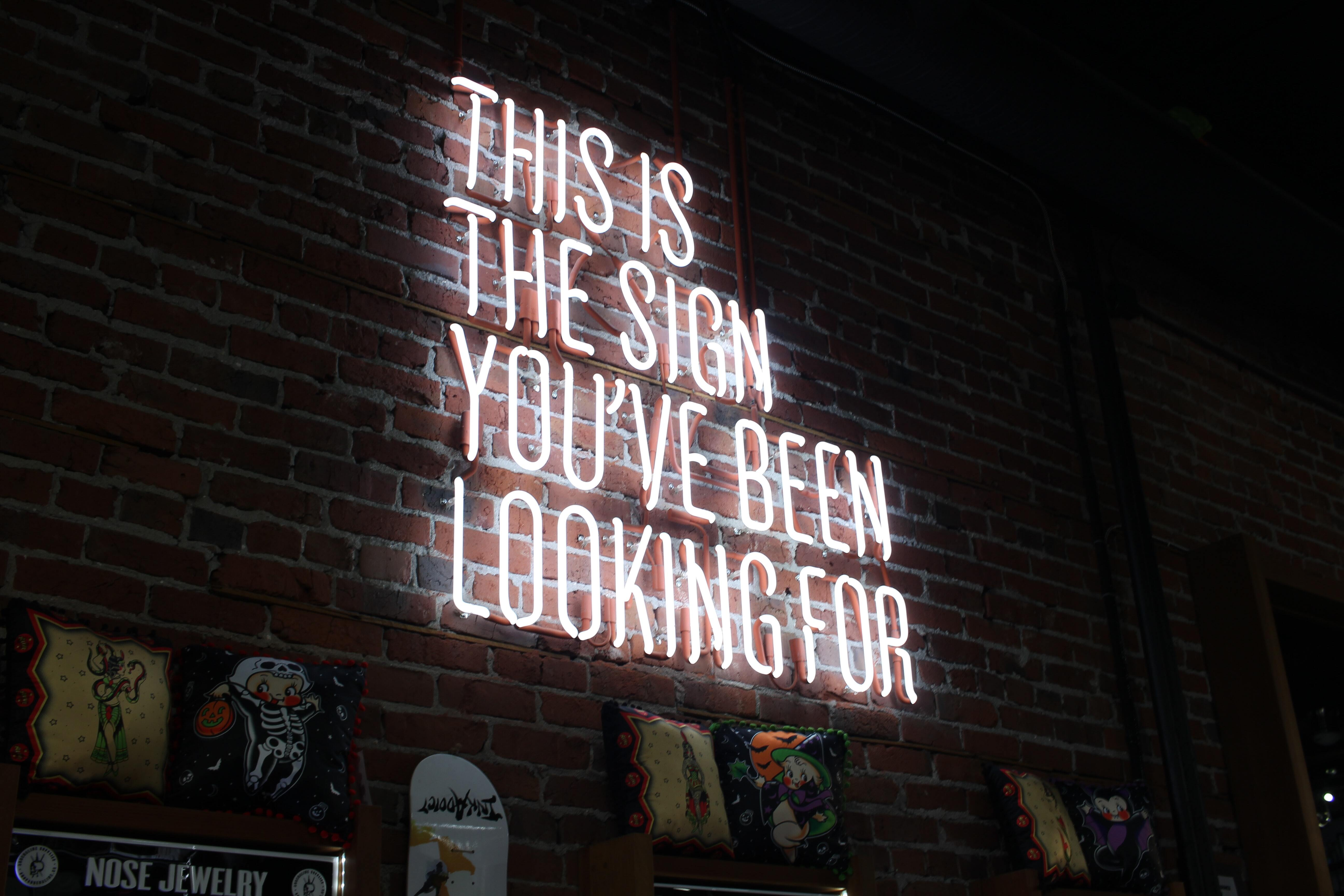 """Photo of a white neon sign that reads """"this is the sign you've been looking for"""" on a dark brick background."""