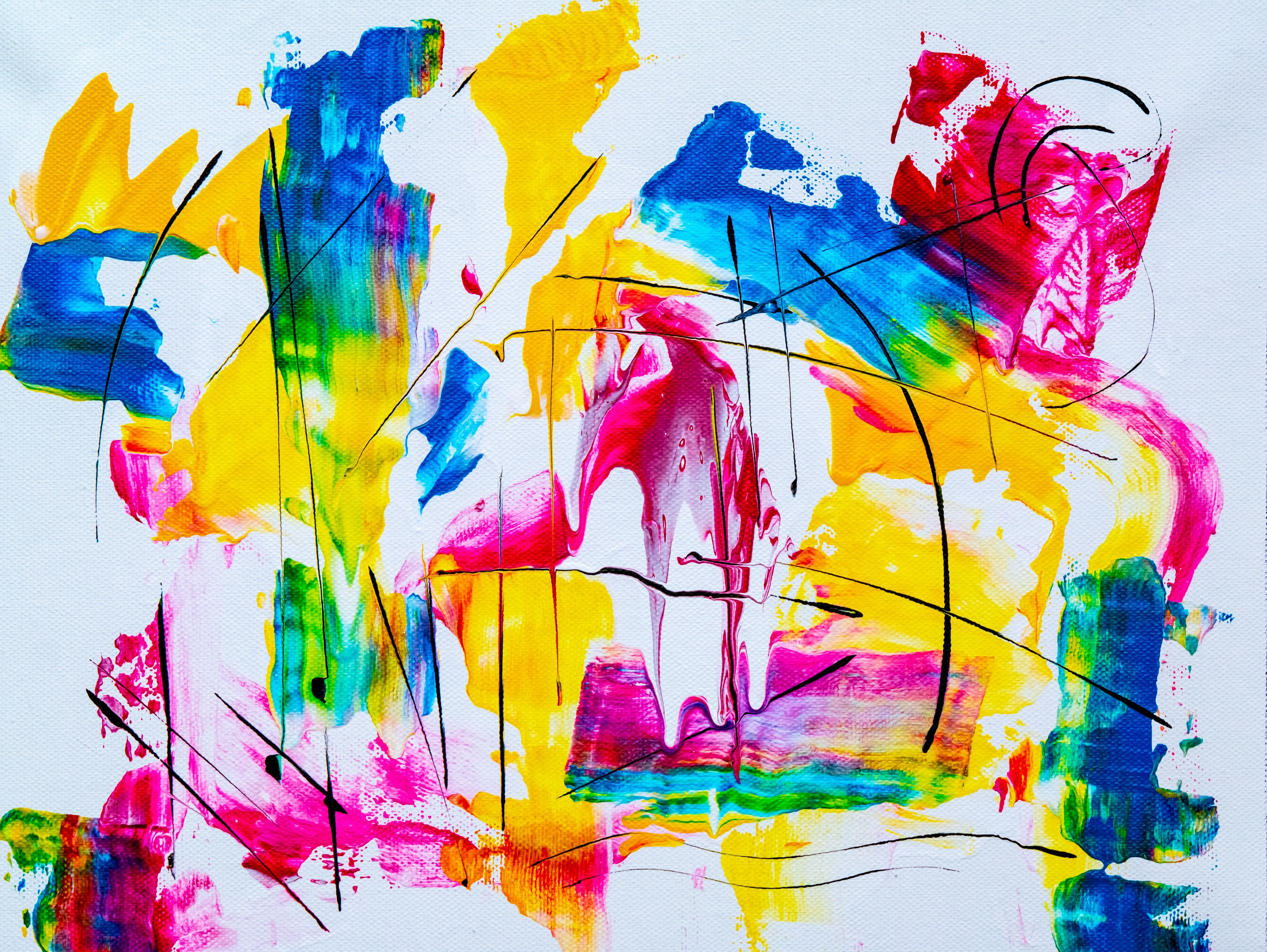 Image of a brightly coloured art piece; blue, yellow, pink, and green brushstrokes and shapes.