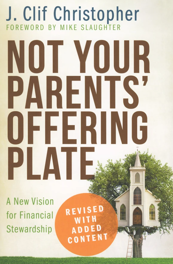 """Image of the front cover of the book, """"Not your parents' offering plate""""."""
