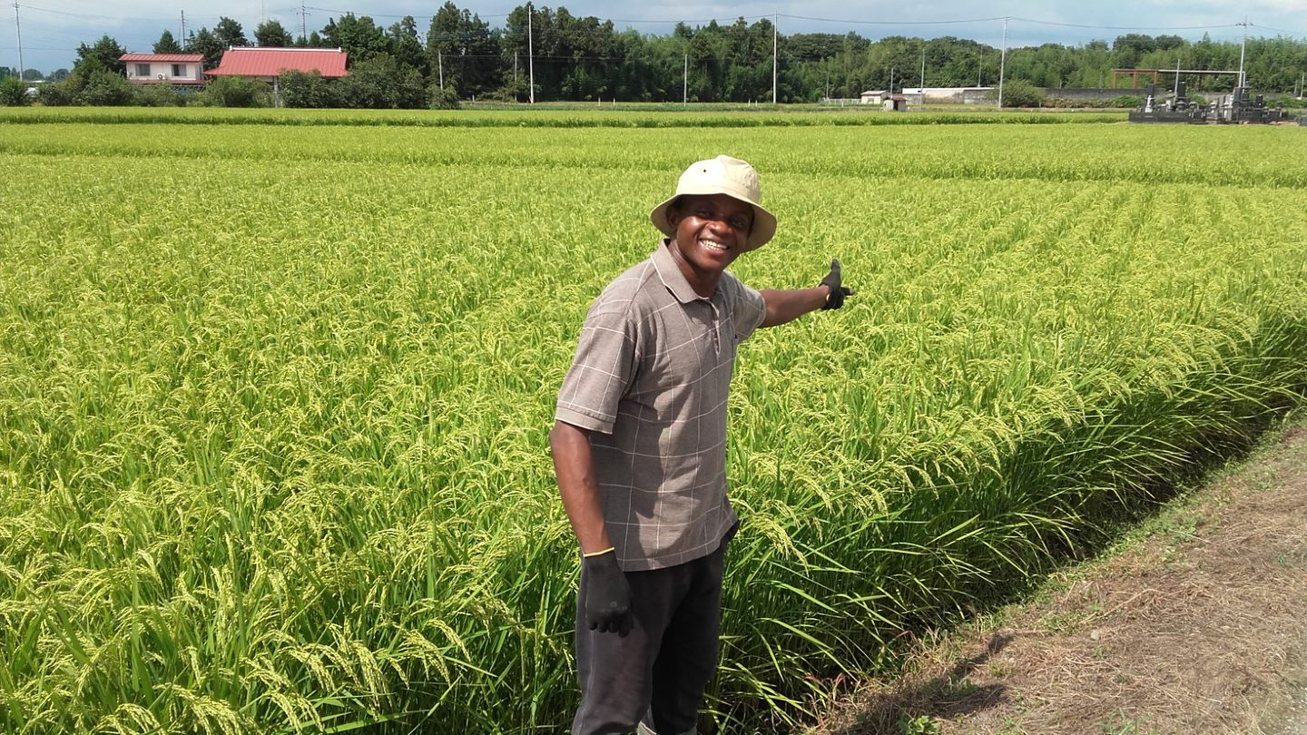 Photo of a smiling Mambud in front of a green field of crops.