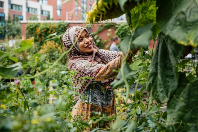 Photo of a smiling woman working in the Fred Victor garden.