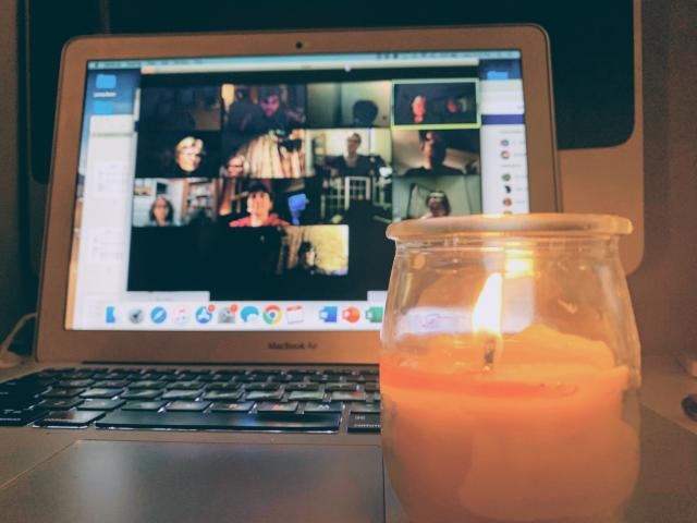 Image of an online church meeting.