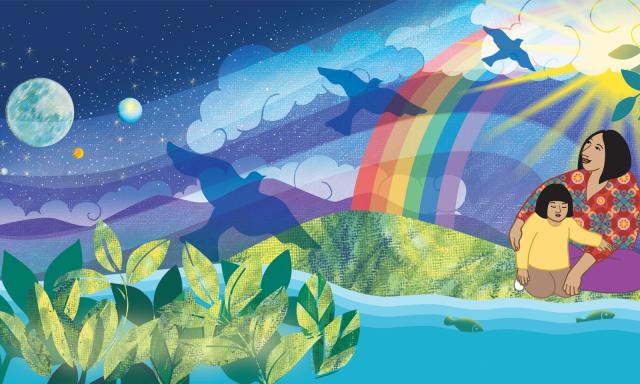 Graphic art piece showing a night sky, clouds, doves, a rainbow, a Mother and child by the water, green grass, mountains, leaves, and the sun.