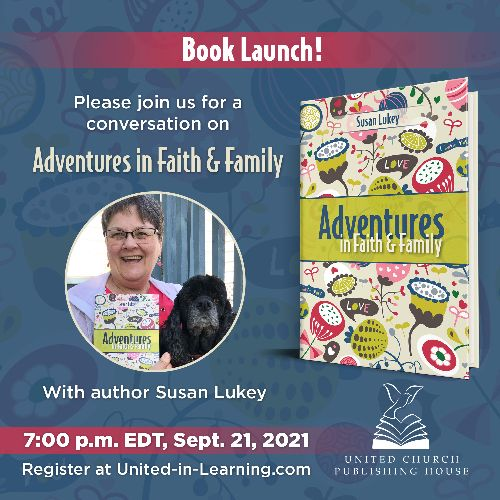 Promotional graphic for the book launch, showing a photo of the author with her dog, next to an image of the front cover of the book.
