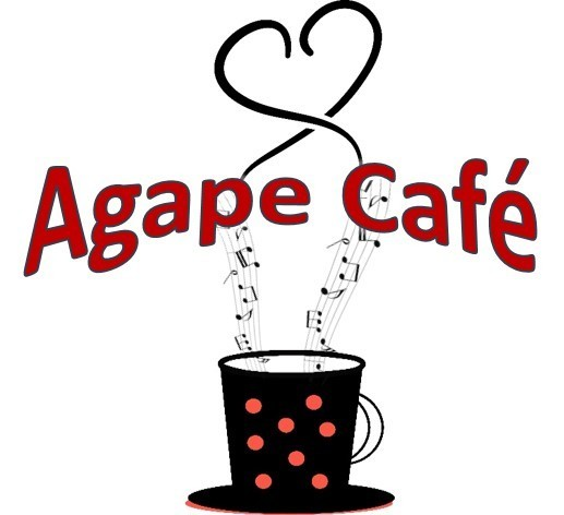 """Red words that read """"Agape Cafe"""" and a graphic of a coffee mug with musical notes instead of steam, forming a heart shape."""