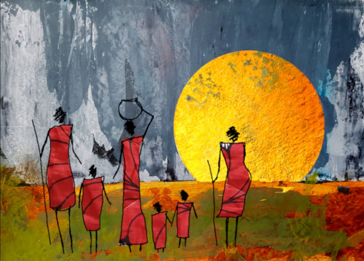 Illustration by artist Eloise Hopkins showing women in Africa.
